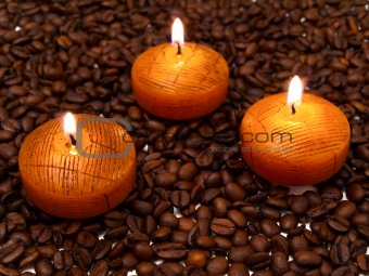 candles and coffe beans