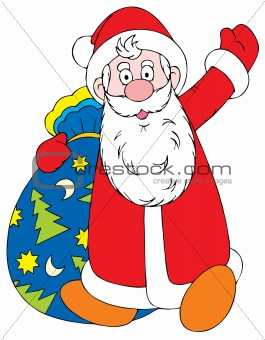 Santa Clause with the gifts bag