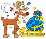 Reindeer and Christmas gifts on the sled