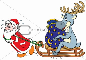 Santa Clause and Reindeer