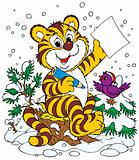 Tiger and bird in the winter forest