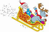 Santa Claus and Reindeer rush in the sledge