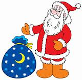 Santa Claus with Christmas gifts bag