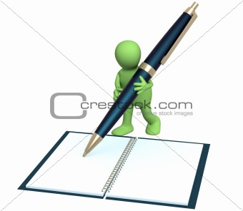 3d puppet with a pen