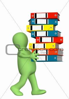 3d puppet, carrying folders