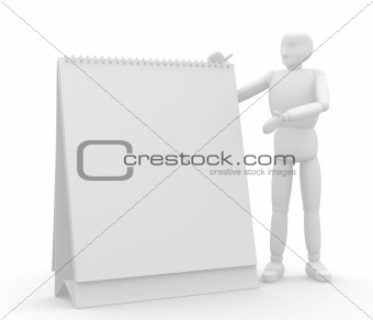 3d puppet with empty calendar in hands