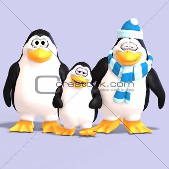 toon penguin family
