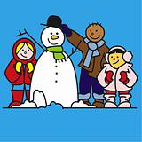 kids with snowman 2