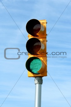 Green traffic signal light
