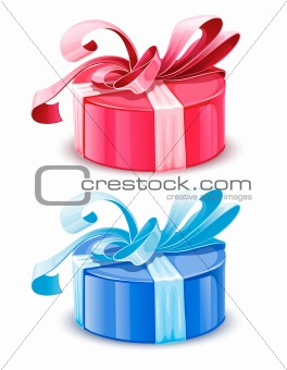 vector blue and pink gift boxes isolated