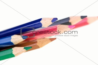Close up of color pencils, isolated on white