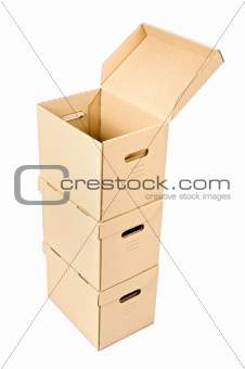 one open box on a pile