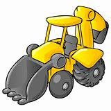Backhoe Bulldozer Cartoon Style