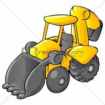 Backhoe Bulldozer Cartoon Style