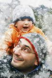 father and son winter portrait