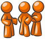 Three Orange Men Talking Together