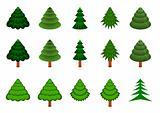 Set of 15 vector conifers