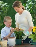 Mother and son planting flowers