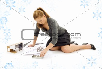 architect girl with house model