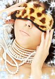 pearls and leopard mask