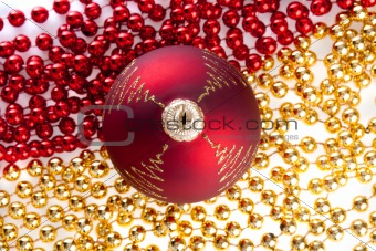 Christmas ball on beads, shot from top