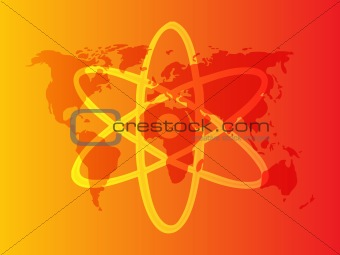 Atomic nuclear symbol scientific illustration of orbiting atom