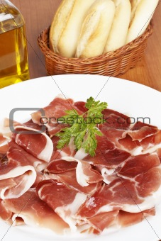 Slices of spanish ham