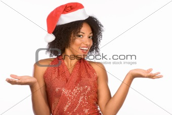 Flirty ethnic Mrs Santa Claus wearing hat