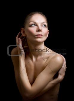 beautiful woman posing in studio