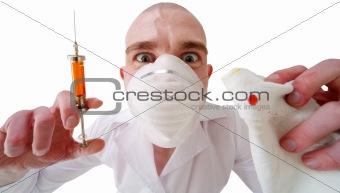 Man and syringe