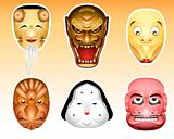 Japan Noh and Kyogen masks | Set 3