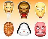 Japan Noh and Kyogen masks | Set 3