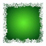 Square green snowflake background
