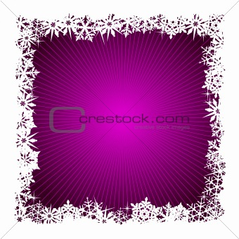 Square purple snowflake background