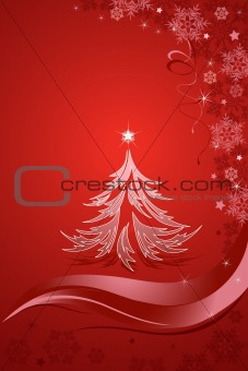 Abstract Christmas tree on the red background. Vector illustration.