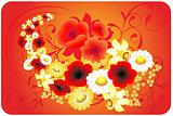 Round dance from flowers on a red background