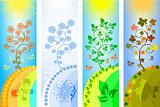 four seasons background vector illustration