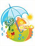 house under umbrella
