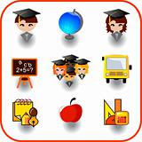 set of education on vector icon
