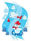 Snowman on Sledge