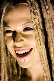 Laughing Woman with Face Piercings