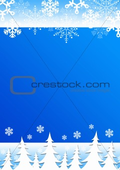 Christmas blue background with snowflakes and trees.