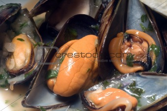 fresh cooked mussels at the restaurant