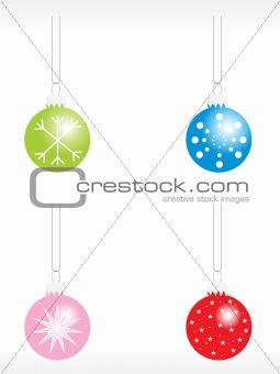 christmas bulbs with snowflakes icon set
