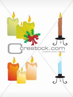 christmas candle icon set
