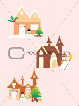 three vector christmas church icon, illustration