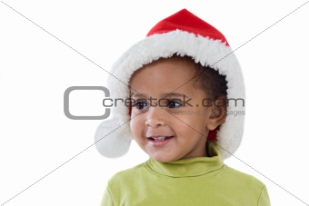 African baby girl with red hat of Christmas