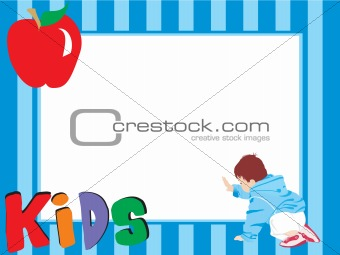 abstract blue frame with apple and kid