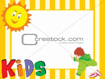 abstract yellow frame with sun and kid
