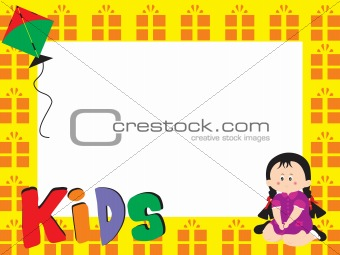 beautifull frame with kid illustration, illustration